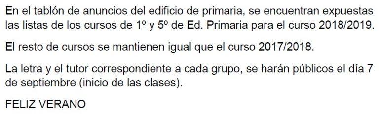 Listas 1º y 5º primaria